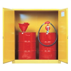 Justrite Flammable Cabinet w/ rollers for (2) 30 gal drums, manual