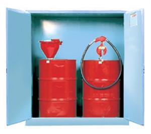 Justrite Cabinet w/ Drum Support, Acid Storage, blue, manual