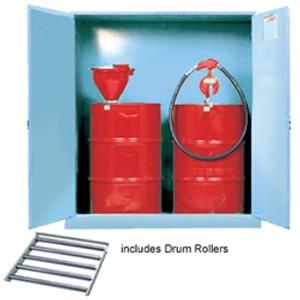 Justrite Acid Drum Cabinet w/ rollers, 2 drum, blue, manual