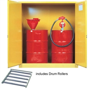 Justrite Flammable Drum Cabinet w/ rollers, 2 drum, self-closing