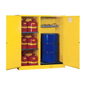 Justrite Flammable Cabinet for drums, Safety Cans, self-closing
