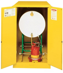 Justrite 899320 Flammable Drum Cabinet, 55 gallon yellow, self-closing