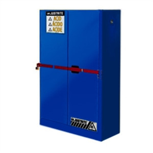 Justrite Acid High Security Safety Cabinet, 45 gal blue, self-closing