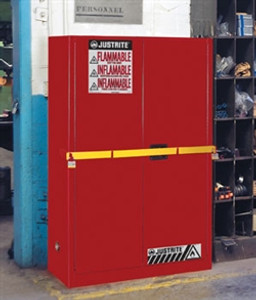 Justrite High Security Safety Cabinet, 45 gal for Flammables red self-closing