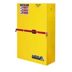 Justrite High Security Safety Cabinet, 45 gal for Flammables yellow self-closing