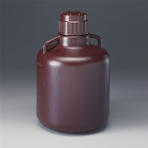 Nalgene Amber Carboy with Amber PP closure, 10L HDPE, case/6