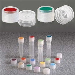 Nalgene 11mm PPCO Caps for Micro Vials, Color Coded Insert, case/1000