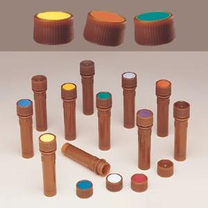 Nalgene 11mm Amber Caps for Micro Vials, Purple Spot, case/1000