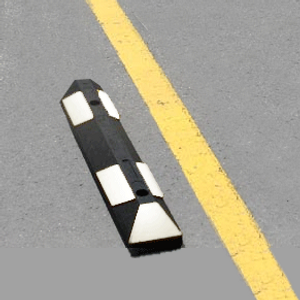 "Park-It Garage Parking Stop, 22"" Rubber w/ Stripe"