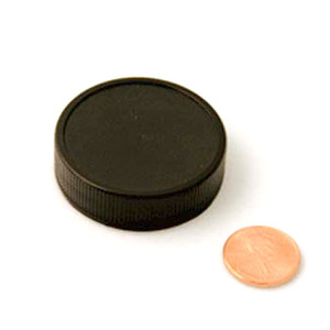 43mm (43-400) Black Polypropylene Unlined Ribbed Cap