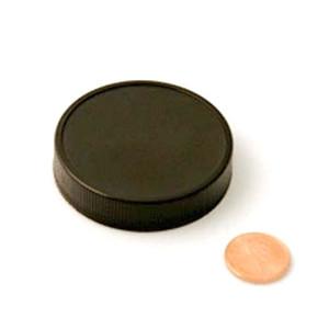 53mm (53-400) Black Polypropylene Pressure Sensitive Lined Ribbed Cap
