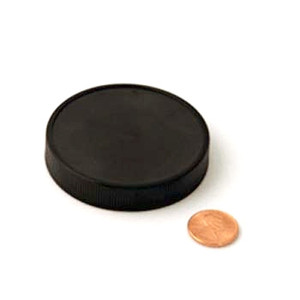 63mm (63-400) Black Polypropylene Pressure Sensitive Lined Ribbed Cap