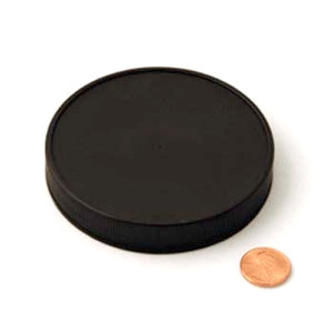 89mm (89-400) Black Polypropylene Heat Seal Lined Ribbed Cap