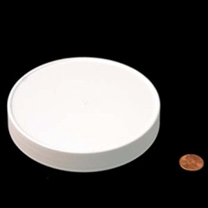120mm (120-400) White Polypropylene Heat Seal Lined Ribbed Cap