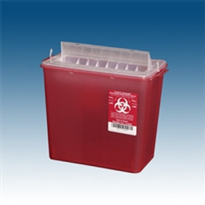 Sharps Container, 5 qt. Red, Horizontal Entry, case/20 for use w/ PP-143002