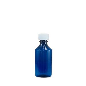 Oval Pharmacy Bottle, Blue, Graduated, Child-Resistant, 4oz, case/200