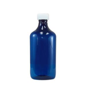 Oval Pharmacy Bottle, Blue, Graduated, Child-Resistant, 16oz, case/50