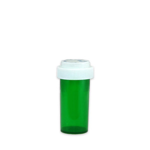 Economy Rx Green Vials, Child Resistant, Reversible, 13 dram (45mL), case/275