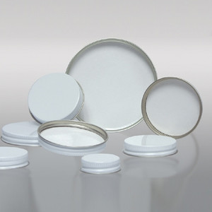 38-400 White Metal Cap, Pulp Polyethylene Lined