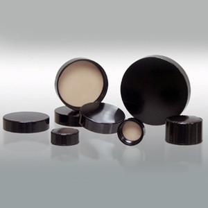 24-400 Black Ribbed Cap, PTFE Liner, case/576