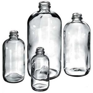 Boston Round Bottle, 4oz, Clear Glass, case/24