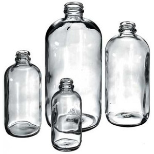 Boston Round Bottle, 480mL (16 oz) Clear Glass, 28-400, case/12