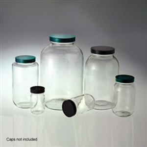Wide Mouth Glass Bottle, 16oz, Clear, No Caps, case/24
