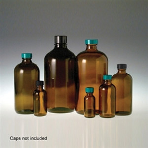 Amber Glass Boston Round Bottle, 480mL (16 oz) No Caps, case/12