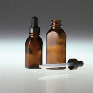 Amber Oval Dropper Bottle, 2oz, 20-400 Plastic Dropper, case/36