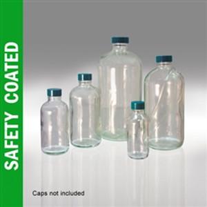 Safety Coated Glass Bottle, 16oz, Boston Round, No Caps, case/12