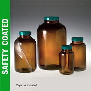 Safety Coated Amber Wide Mouth Packer, 1 Liter (32 oz) No Caps, case/12