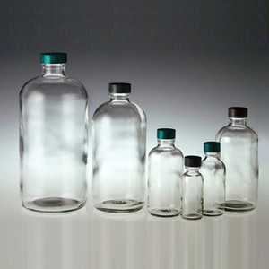 Clear Boston Round Bottle, 8oz, Green, PTFE Lined Cap, case/24