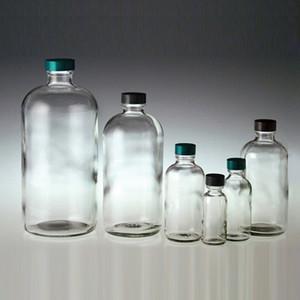 Boston Round Glass Bottle, 32oz, Green, PTFE Lined Cap, case/12