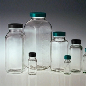 French Square Glass Bottle, 4oz, Black Vinyl Lined Cap, case/24