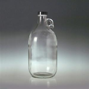 Clear Glass Jug, 2 Liter (64 oz) Black Vinyl Lined Cap, case/6