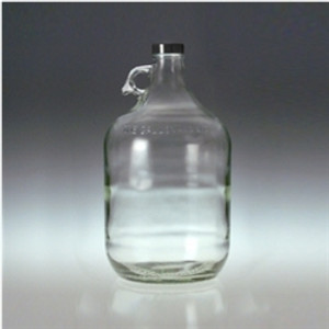 Clear Glass Jug, 4 Liter (128 oz) Black Cap with PTFE Disc, case/4