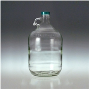 Clear Glass Jug, 4 Liter (128 oz) Green, PTFE Lined Cap, case/4