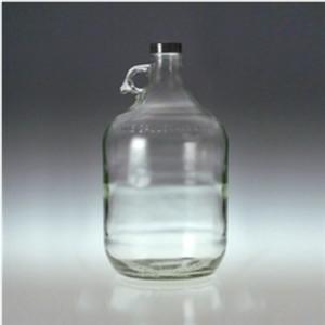 Clear Glass Jug, 4 Liter (128 oz) Black Vinyl Lined Cap, case/4