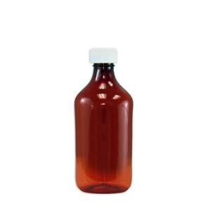 Amber Oval Pharmacy Bottle, Child Resistant Caps, 12oz, case/100