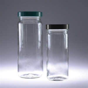 Clear Tall Glass Jars, 16oz, Black Vinyl Lined Cap, case/12