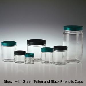 Clear Glass Jars, 32oz, Black Aluminum Foil Lined Cap, 32oz, case/12