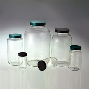 Clear Wide Mouth Bottle, 8oz, Green, PTFE Lined Cap, case/24