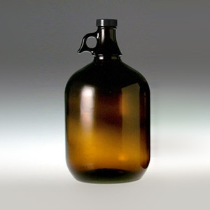 Amber Glass Jug, 4 Liter (128oz)14B Rubber Lined Cap, case/6
