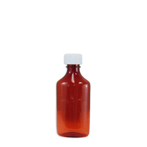 Amber Oval Pharmacy Bottle, Child Resistant Caps, 6oz, case/100