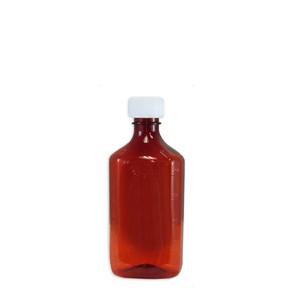 Amber Oval Pharmacy Bottle, Child Resistant Caps, 8oz, case/100