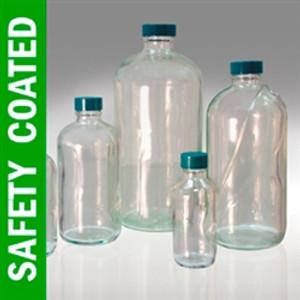 Safety Coated Boston Round Bottle, 8oz, PTFE Lined Cap, case/24