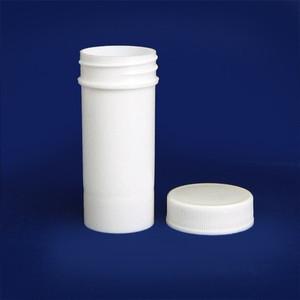 White Polypropylene Jar, Unlined PP Caps, 1 oz (30mL), case/96