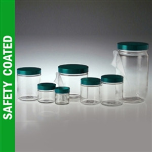 Safety Coated Glass Jar, 8oz, Black Vinyl Lined Cap, case/24