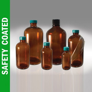 Safety Coated Amber Bottle, 4oz, Green, PTFE Lined Cap, case/24
