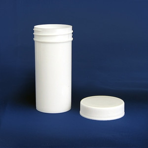 White Polypropylene Jar, Unlined PP Caps, 2 oz (60mL), case/96
